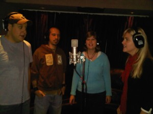 Tyler, Kevin, Sarah and Mary Lorraine singing for NBC